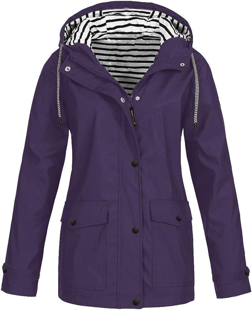 Tantisy Women Windproof Windbreaker Basic Cardigan Athletic Workout Party Coat Jacket Zipper Hooded Warm Long Overcoat