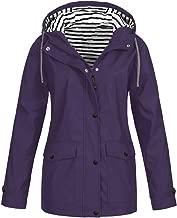 FRENDLY Women Solid Rain Jacket Plus Size Outdoor Waterproof Hooded Raincoat Solid Drawstring Windproof Rain Jacket