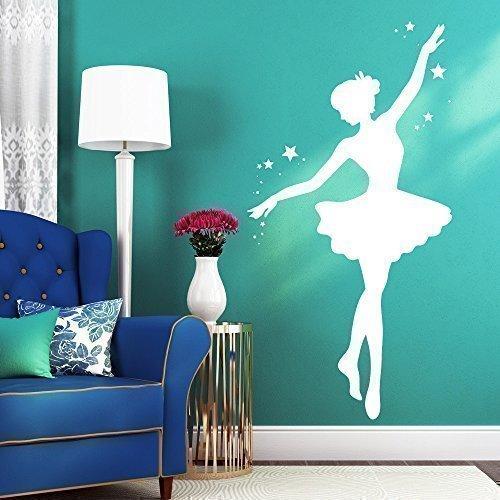 """Wandtattoo-Loft Wandaufkleber """"Ballerina mit Sternen"""" - Wandtattoo Ballett Tänzerin / 49 Farben / 4 Größen/weiß / 55 cm breit x 107 cm hoch"""