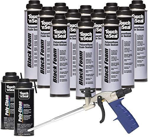 Touch N Seal Black UV-Resistant Polyurethane Gun Foam Spray Sealant Kit - 12/24oz Cans, 2/12oz Cans Zero FOC Polyurethane Foam Cleaner, and 1 - Reusable Applicator Gun