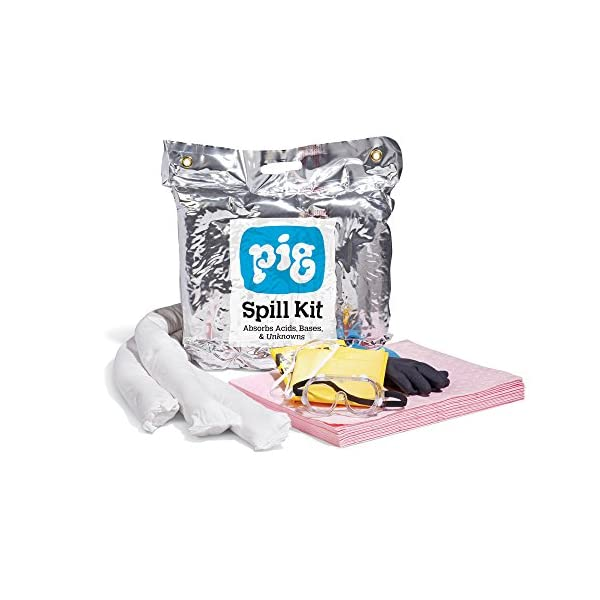 Battery Acid Spill Pack, Absorbs Acids, 4-Gal Absorbency, Tamper Resistant Spill Kit, New Pig KIT353