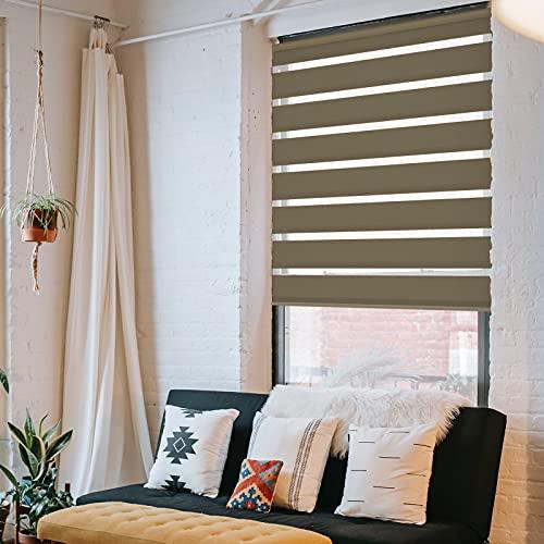 DESWIN Doppelrollo Klemmfix, Duo Rollos ohne Bohren für Fenster & türen 130 x 160 cm Taupe - (KlemmFix Duorollo mit Kettenzug, Klemmhaltern, Haltern zum Schrauben)
