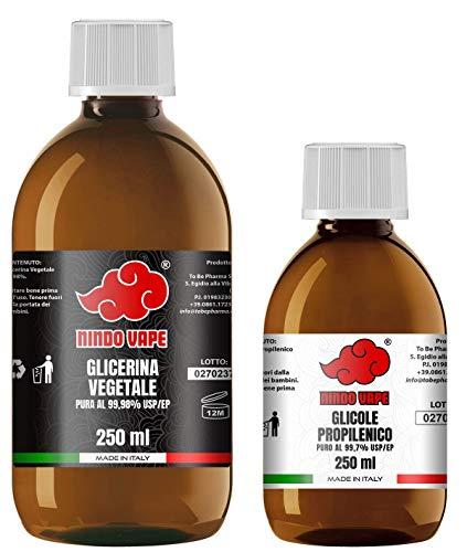 NINDO Kit Base Neutra 500ml 50VG/50PG | Glicerina Vegetale (99,98%) + Glicole Propilenico (99,7%) | 100% Made in Italy | Privo di OGM e Allergeni | Grado Farmaceutico Certificato