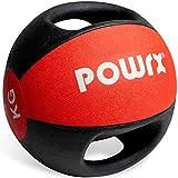 POWRX Balón Medicinal con Asas 5 kg - Ideal para Ejercicios de »Functional Fitness«, fortalecimiento Muscular y rehabilitación + PDF Workout (Rojo)