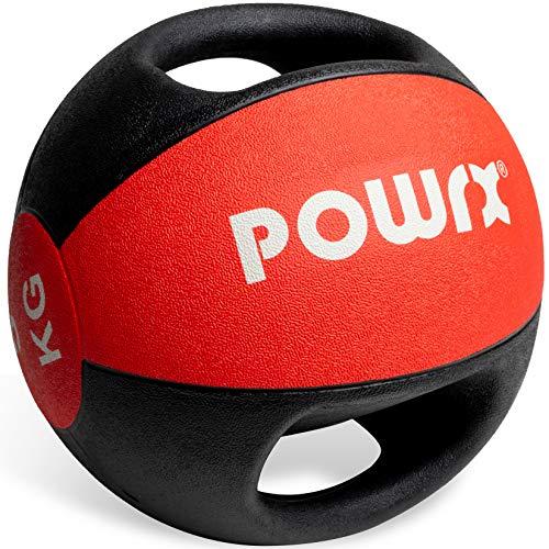 POWRX Palla Medica con Maniglie 5 kg - Ideale per Esercizi di »Functional Fitness«, potenziamento Muscolare e Riabilitazione + PDF Workout (Rosso)