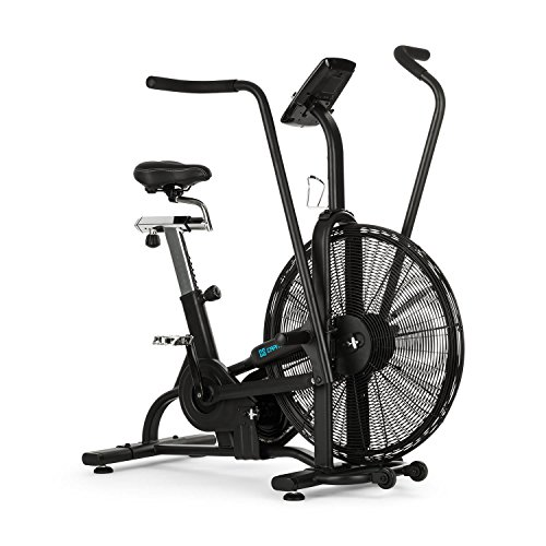 Capital Sports Strike Bike - Bicicleta estática, Cardioentrenador, Ventilador de Resistencia, Ordenador Integrado, Bluetooth, Altura y Fondo Ajustables, Soporte Tableta, Peso máx: 150Kg, Negro