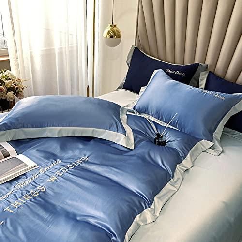 Juego de ropa de cama con funda de edredón,Funda de seda de doble cara, ropa de cama, ropa de cama, tejido de sateen suave y de seda, transpirable y resistente al desvanecimiento, adecuado para los a