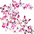 Ewong Butterfly Wall Decals, 36PCS 3D Butterflies Home Decor for Room, Wall Sticker for Girls Room Kids Bedroom Bathroom Baby Nursery Decoration (Pink)