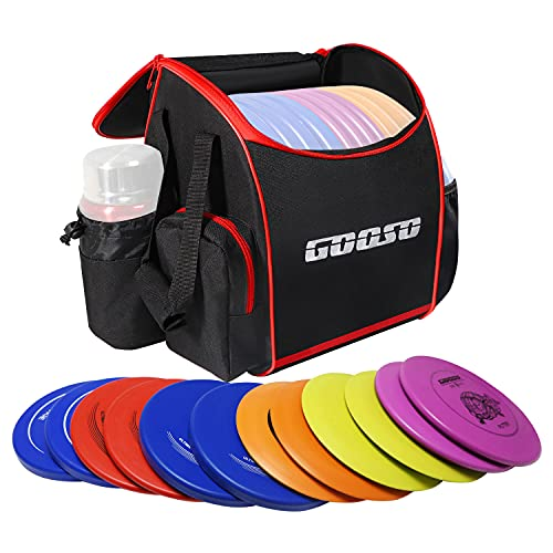 Disc Golf Set with Bag - 12 PCS Flying Disc Golf Discs for Beginner with Putter, Midrange, Driver | Portable Disc Golf Backpack Holds 28+ Discs Free Stand Bag Design for Convenient Use
