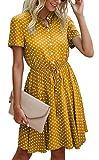 BTFBM Womens Dresses Cute Polka Dot Print Button Down Short Sleeve A-Line Elastic Waist Summer Casual Swing Dress (Yellow, Large)