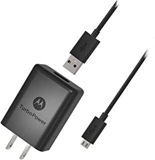 Motorola SPN5970A TurboPower 15+ QC3.0 Wall Charger with SKN6461A Micro USB Cable for Moto G5 Plus, G5S, G5S Plus, E5 Plus...