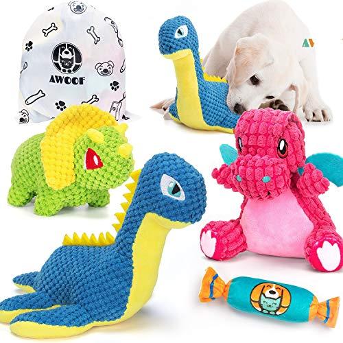AWOOF Spielzeug für Hunde, Interaktives Hundespielzeug, stabiles Quietschende Hundespielzeuge mit Knitterpapier für große und kleine Hunde, 4 Pack
