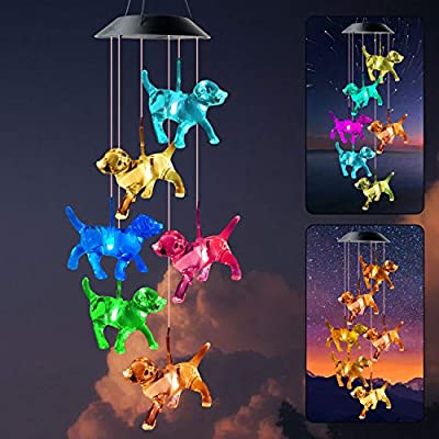 zhengshizuo Dog Solar String Lights Wind Chimes Pet Gifts Outdoor Solar Wind Chimes Color Changing Xmax Ornaments Christmas Decorations LED Lights