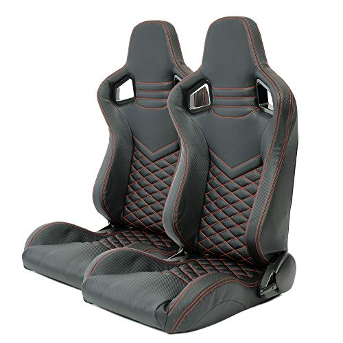 2x Autosportsitz Sportsitz Racingseat schwarz Kunstleder Carbon Rot