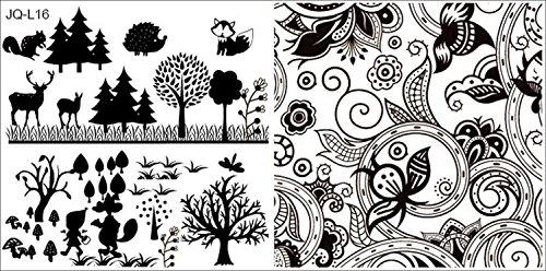 XL-STAMPING SJABLONE 12x6cm # JQ-L16 bosdieren, bos, vos, egel, eekhoornje, hert, paddenstoel, roodkapje, ornamenten, bloemen, herfst