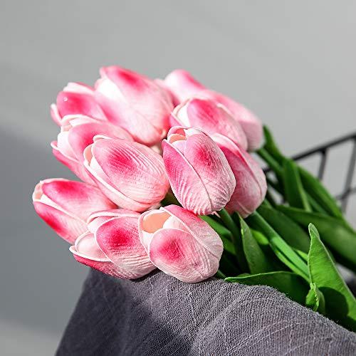 JUSTOYOU 20 STK PU Real Touch Latex Künstliche Tulpen Gefälschte Tulpen Blumen Blumensträuße Blumen Arrangement für Home Room Hochzeitsstrauß Party Herzstück Dekor Rosa - 9