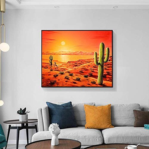 YuanMinglu Abstrakte Wüste Ölgemälde Poster nordischen Stil Landschaft Natur Wandkunst Dekoration Hauptdekoration rahmenlose Malerei 75X90CM