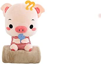 LJBH Cute Couple Pig Figurine, Plush Toy, Office Dual-use, Nap Pillow Blanket, Valentine's Day Valentine's Day Girl (Color...