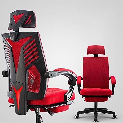 SJVR Sedia da Gaming, Sedile Racing per PC Sedia da Gaming, Gaming Gamer Live Chair Boss Office Executive Mesh Lacework Sedie Ruota Poggiapiedi sintetico Ergonomia Famiglia rossa con poggiapiedi