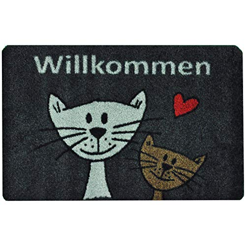 deco-mat Fußmatte Katze (40 x 60 cm, Grau) • rutschfeste und waschbare Fußmatte für außen/innen • saugstarke Schmutzfangmatte vor In-/Outdoor mit lustigem Katzenmotiv