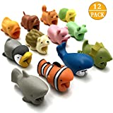 CKANDAY 12 Pcs Cute Animal Cable Protector Saver Chompers Chewers Buddies Protection for Cellphone Phone Accessories Charger Cord USB Charging Cable