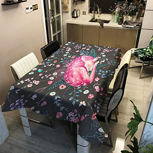 GHGD 140X180Cm-Starry Sky Elk Mantel De Navidad Impresión 3D Año Nuevo Mantel Rectangular Impermeable Decoración De La Cubierta del Escritorio De La Cena En Casa