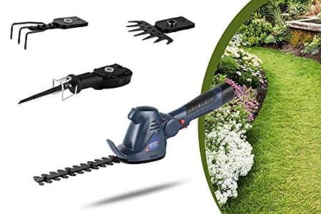 WOLFGANG Herramienta de jardín multifunción 4 en 1, Cortadora de césped, Desbrozadora, Cortasetos, Tijeras de jardín, Sin cable con batería, Li-ion, 1500mAh, 10.8V