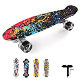Nacatin Kinder Skateboard, 22 Zoll, komplettes Skateboard, mit PU-Rädern, Tisch aus verstärktem...