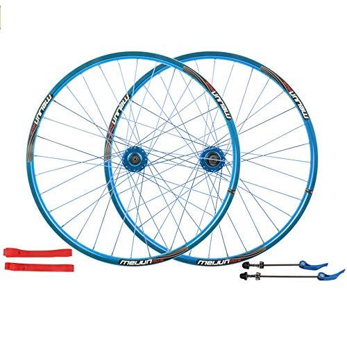 TYXTYX Rueda de Bicicleta Llanta de aleación Doble Q/R MTB 7 8 9 Juego de Ruedas de Bicicleta de 10 velocidades Rueda de Bicicleta Delantera 32H Juego de Ruedas de Bicicleta MTB Trasera, Azul