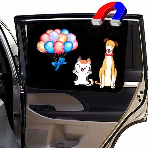 Car Side Window Sun Shade- Universal Magnetic Sunshade for Baby and Kids,Glare and UV Rays Protection from Bright Sunlight- Keeps Your Vehicle Cool,Fit for Most Cars SUV -27 x 18.5Inch (cat&Dog)