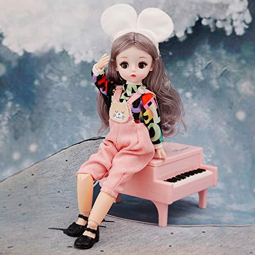 Niña Muñeca Fashion Juguete Muñeca de Pelo Castaño Princesa Jugar A La Casa Linda De Vinilo Vestido Accesorios 30CM Muñeca Bricolaje Regalos para Niños Navidad Cumpleaños Festival,L