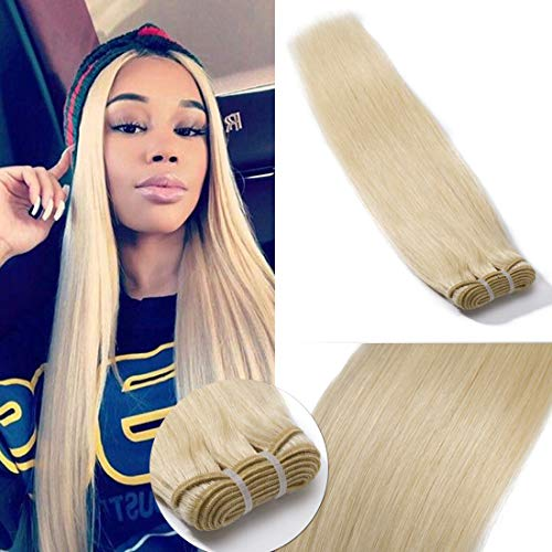 SEGO 60 Virgin Hair Bundles 7A Sew in Blonde Bundle 100% Unprocessed Brazilian Human Hair Weft Weave Extensions Thick Silky Straight One Bundle for Women 22 Inch Platinum Blonde 100g