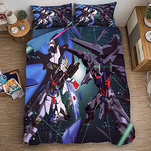 XKNSYMRL Nordico 150X200, Gundam Impresión Digital 3D Colcha Pique Cama 135, Premium Poliéster Microfibra Comficent Conjuntos De Ropa De Cama, para Cama De Matrimonio (240X260Cm)