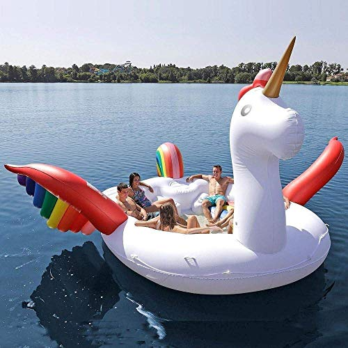 WXH Fiesta de Placer Isla de Aves Flotador de Unicornio Gigante, Tumbona de la balsa de Verano, Bote Flotante, 233 * 212 * 103', Lago, Río, Océano, para hasta 6 Personas