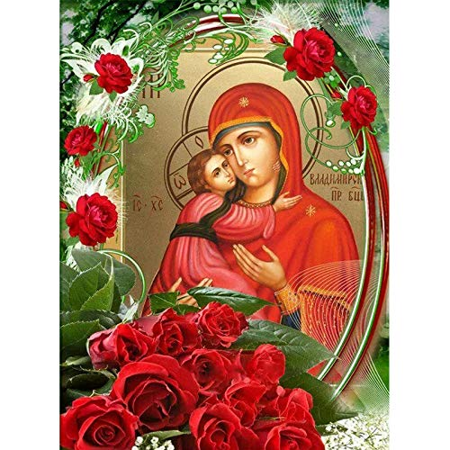 Dybjq Virgen y el niño pintura de diamantes por número mosaico de punto de cruz bordado completo diamante arte flor de diamantes de imitación 40x50cm