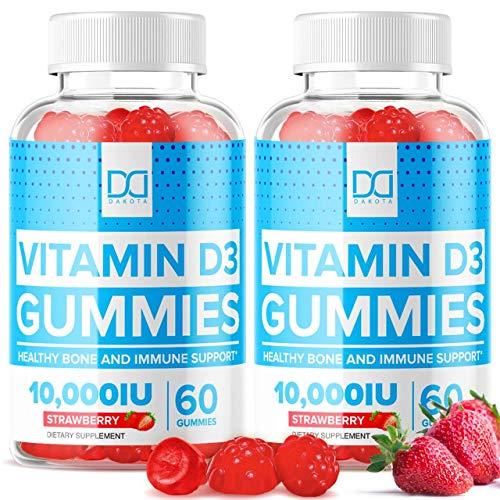 Vegan Vitamin D3 10000 IU Gummies with Zinc Echinacea Vit D Chewable Supplements for Adults Kids - Vitamina Vitimin. D 3 Gummie Immune Bone Support, Alternative to Liquid Drops, Tablets (2 Pack)