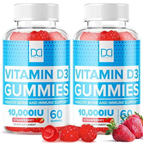 (10,000 IU) Vitamin D3 Gummies 250mcg with Zinc Echinacea Vit D Chewable Supplements for Adults Kids - Pure Vegan Chews Immune Support, Bone Health, Gummy Alternative to Liquid Drops, Tablets (2 Pack)
