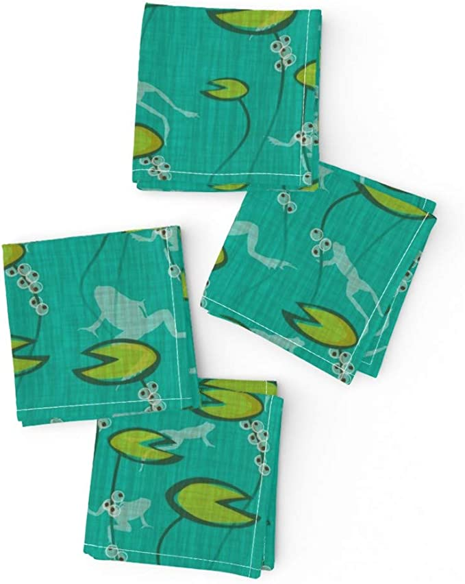 Frogs Amphibians Spring Toads Frog Cotton Dinner Napkins by Roostery Set of 2