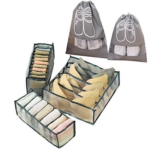 YuuHeeER Organizador de ropa interior con 2 bolsas de almacenamiento para zapatos, cestas plegables, sujetador