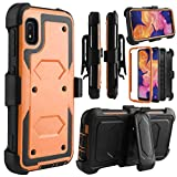 Telegaming Samsung A10e Case, with Screen Protector Swivel Belt Clip Holster, Shock Absorption Heavy Duty Hybrid Amor Phone Case for Samsung A10e Orange