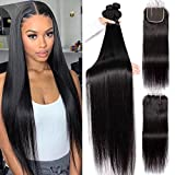 26 28 30 with 20 Closure Long Silky Straight 3 Bundles With Closure Three Parting VipBeauty Unprocessed Virgin Hair Wave Weave Brazilian Straight BundlesHuman Hair With 4x4 Lace Closure