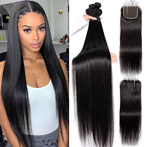 22 24 26 with 20 Closure Long Silky Straight 3 Bundles With Closure Three Parting VipBeauty Unprocessed Virgin Hair Wave Weave Brazilian Straight BundlesHuman Hair With 4x4 Lace Closure