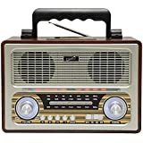 SuperSonic - Retro Multi-Function Bluetooth Speaker with 3 Band Radio, Boomboxes - Wood (SC-1198BT)
