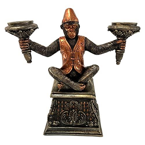 MERIGLARE Scimmia Portacandele Figurina Statua Candeliere Candelabro Candelabro