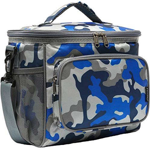 Insulated Reusable Lunch Bag Adult Large Lunch Box for Women and Men with Adjustable Shoulder Strap,Front Zipper Pocket and Dual Large Mesh Side Pockets by FlowFly,Blue Camo