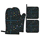 Pacman Retro Video Game Pattern 2 Oven Mitts and 2 Pot Holders Set, Soft Cotton Lining with Non-Slip Surface, Heat Resistant Kitchen Microwave Gloves for Baking Cooking Grilling BBQ
