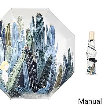 LUKJOPAN Parapluie Cactus Peint à la Main Peint à la Main Peinte à la Main de la Main de la Main de la Main de la Main de la Main de la Main de la Main Mini Parapluie Anti-UV Parasol Portable