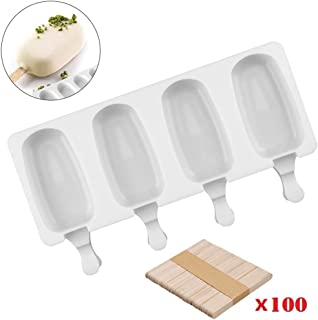 SAKOLLA Popsicle Silicone Mold with Lid, 4 Cavities Homemade Ice Pop Mold, Silicone Ice Cream Mold with 100 Wooden Sticks (Classic Oval)