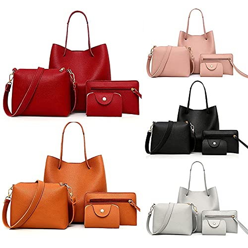 Tote Bags for Women,Leather Handbags,Crossbody Bag,Card Pack,Messenger Bag,Card Package Tote,Wallet Tote Bag,Shoulder Bag Top Handle Satchel Purse for Women Girl Travel and Friend' Gift (4pcs) (E)