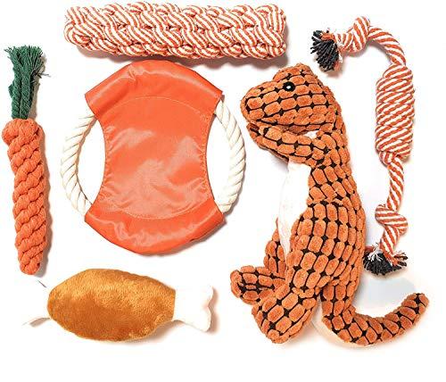 SMURU® Hundespielzeug im Set, Kauspielzeug 6-teilig, aus natürlicher Baumwolle/Plüsch (geruchlos & ungiftig) Hundespielzeug geeignet für Welpen, Junghunde und ausgewachsene Hunde.